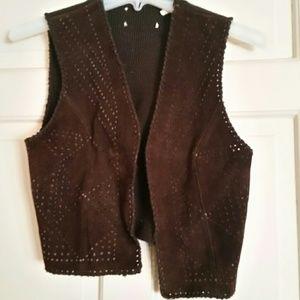 Vintage Brown Suede Leather Vest Jr.Sz Med